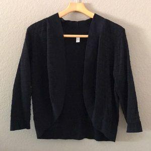 DANA BUCHMAN shrug sweater open drape 3/4 sleeve